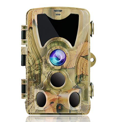 SUNTEKCAM Wildkamera Fotofalle 24MP 1080P Infrarot-Nachtsicht Jagdkamera Bewegungsmelder IP66 Wasserdichter& Staubdicht 3-Zonen-Infrarotsensor 120 °Weitwinkel Nachtsichtkamera mit 8G Speicherkarte