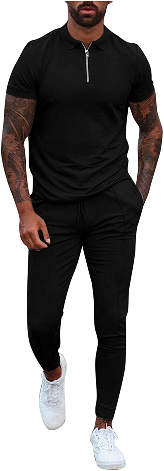 Beppter Mens 2 Piece Tracksuits Solid Casual Short Sleeve Polo Zipper Shirts+ Long Pants Outfits
