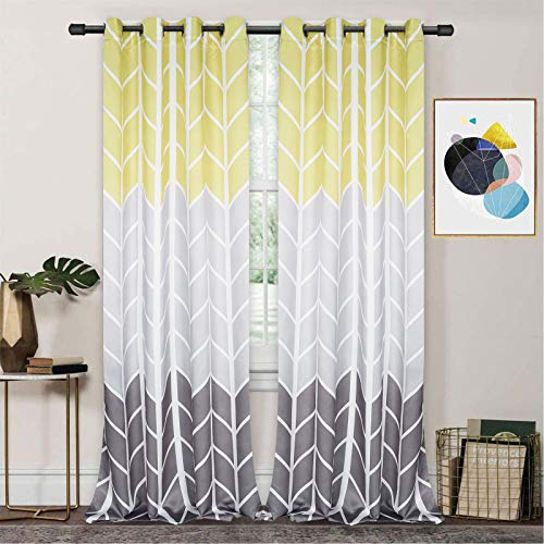 Grey Yellow Color Block Window Curtains, Gray Gradient Curtain Panels, Geometric Chevron Room Darkening Curtain Drapes with Grommets for Bedroom Living Room, Set of 2 Panels, 52 x 84 Inch