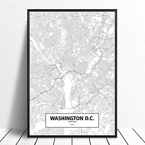 Leinwanddruck,Washington D.C Schwarz Weiß Benutzerdefinierte Welt Stadtplan Poster Bilder Drucken Auf Leinwand Im Nordischen Stil Wand Kunst Leinwand Gemälde Für Die Wohnkultur Kein Rahmen, 8 X 12