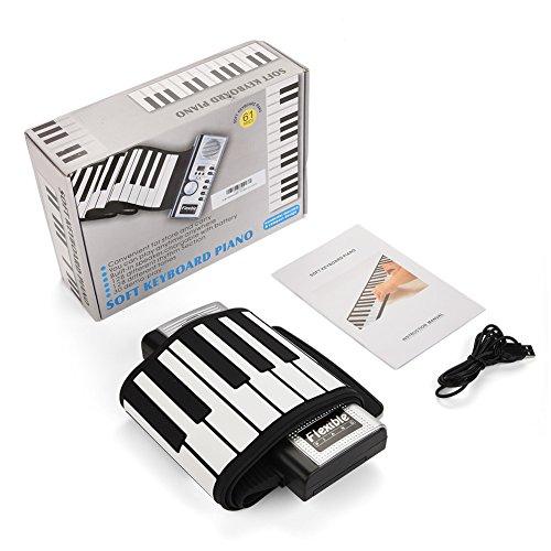 Drfeify 61 Schlüssel-Rollup-Piano, Tragbare Rlektronische Tastatur Handaufrollendes Klavier-Geschenk für Kinder