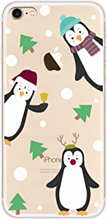 Buyus X-Mas Series Case for iPhone 6s / 6, Clear with Design, Soft Thin TPU Rubber Silicone Back Protective Cover Bumper with Cute Animal Pattern (Penguins 3 in 1, Green Christmas Trees Pines)