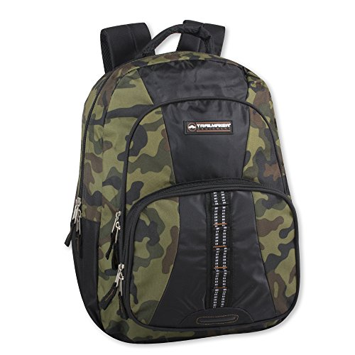 Trailmaker Tactical Military Style Camo Backpack with Lash Tabs and Padded Back and Straps (green)