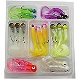 Shaddock pesca® Nueva 17pcs/lot señuelos de pesca Kits Jig Lleva cabeza ganchos cebos Grub gusano suave señuelos silicona pesca Tackle Set 3,3G/4.8g/6.5G