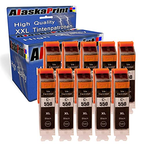 Alaskaprint 10x Druckerpatrone kompatibel mit Canon 550 pgbk PGI-550 XL Schwarz Black mit Canon Pixma IP7250 IP-7250 MX925 MX-925 IX6850 IX-6850 MX725 MX-725 Patronen