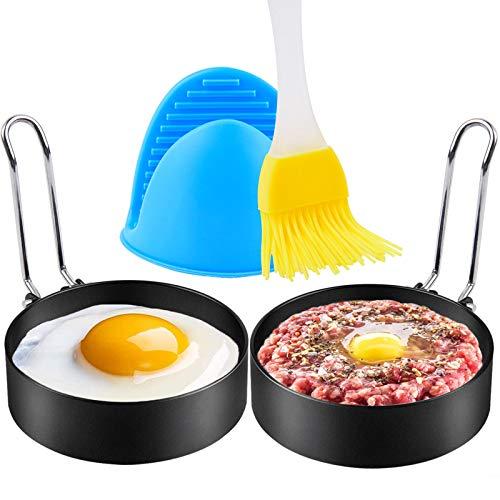 Sopito Groß Eierringe, 2 Pack 3,5 Zoll Antihaft-Edelstahl Eierformringe mit Ölbürste und Silikon-Handklammer für Spiegeleier, Pfannkuchen, Mcmuffin, Omeletts, Fladen