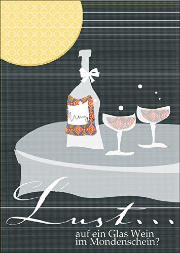 Laden Sie mit dieser Einladungskarte zu einem Glas Wein im Mondschein ein • auch zum direkt Versenden mit ihrem persönlichen Text als Einleger. • schöne Premium Grusskarte mit Umschlag für beste Freunde und Lieblingsmenschen
