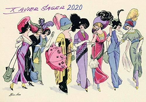 Calendario de pared 2020 [12 páginas 8 x 11 pulgadas] Vintage Fashion Lady Illustration por Xavier Sager