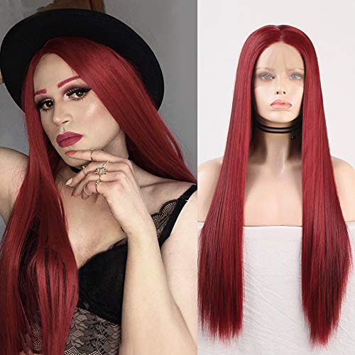 RDY Wine Red Wig Long Silky Straight Burgundy Synthetic Lace Front Wig for Women Cosplay Wig with Pastel Heat Friendly Fiber Glueless Wig Half Hand Tied Frontal Lace Wigs with Natural Hairline 20 Inch