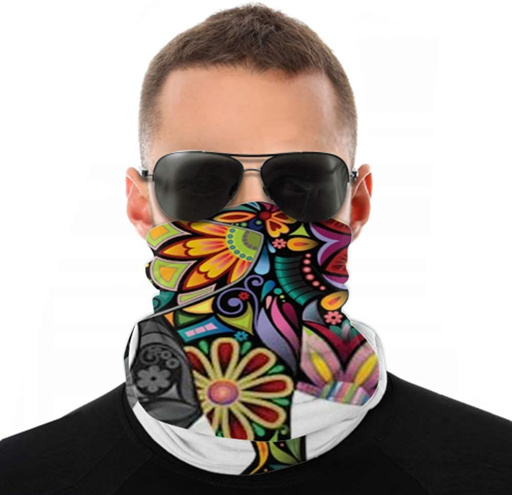 Headbands For Men Women Neck Gaiter, Face Mask, Headband, Scarf Cheerful Elephant Silhouette Collected Various Elements Turban Multi Scarf Double Sided Print Head Bands For Sport Outdoor