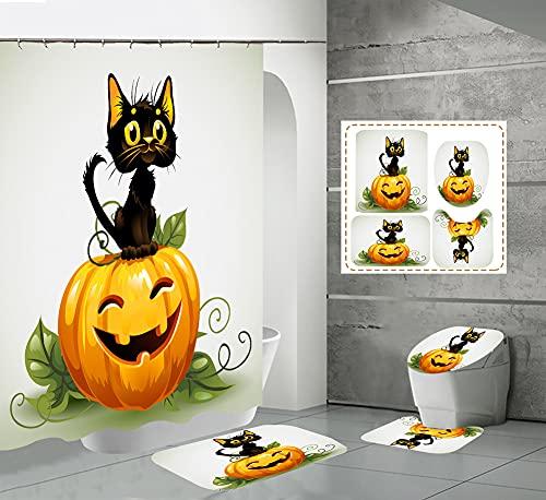 CQFFCG Juego de alfombras de baño 4 Piezas de baño de Serie de Halloween con Cortinas de Ducha Alfombrillas de baño Antideslizantes Impermeables Conjuntos (Forma 63)