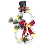 N/J Christmas Wreath Decoration - Lighted Ornament Home Decoration Garland Pendant with Beautiful Bow, Snowman Shape Wreath for Front Door Home Wall Decor (Red)