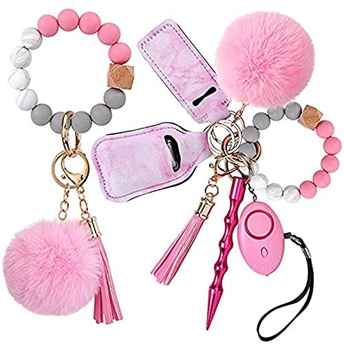 YANGMEI Schlüsselanhänger Armband Handgelenk Schlüsselanhänger Auto Schlüsselanhänger Für Frauen, Sicherheits-Schlüsselanhänger-Set Mit Persönlichem Alarme, Schlüsselanhänger-Armband (Rose)