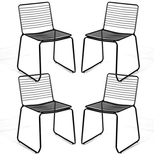 Costway Dining Chair Set of 4, Stackable Chair with Slat Seat Modern Metal Chair with Sturdy Metal Frame Cafe Chair for Indoor Stackable Chair (Black)