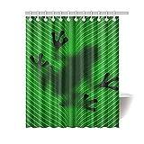 Green Leaf Frog Shadow Duschvorhang Badezimmer Dekor setzt Haken Wasserdichter Polyester Vorhang in