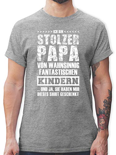 Vatertagsgeschenk - Stolzer Papa Fantastische Kinder - M - Grau meliert - Tshirt Herren sprüche witzig - L190 - Tshirt Herren und Männer T-Shirts