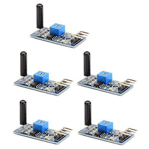 Optimus Electric 5pcs Vibration Sensor Module SW-18010P 3.3V to 5V with Digital Switch Output and LM393 Comparator for Theft Alarms Electronic Building Block Smart Car from
