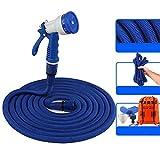 LZDX - Juego de 3 expansiones Magic Water Hose Set, flexible, extensible, tubo con pulverizador multifunción para coche y mascota, para lavado, césped, jardín, azul, 45 m