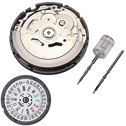 BAQI NH36 Hochgenaues automatisches mechanisches Uhrwerk Doppelarmbanduhr Tag Datum Uhrwerk Uhrzubehör