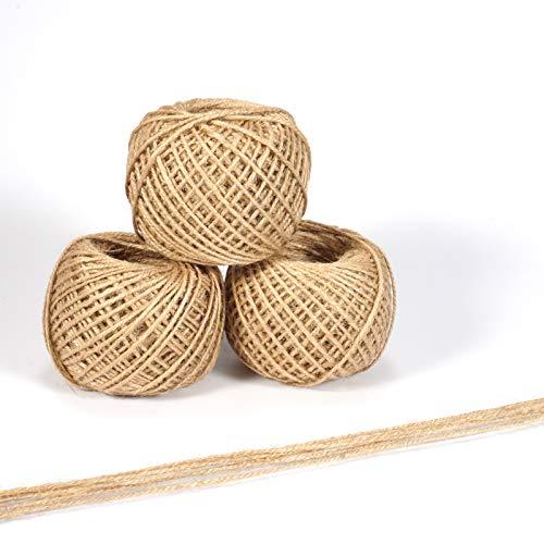 Ruesious 1000 pies Natural Yute Twine Mejor Arts Crafts - Cordel de Regalo Twine Industrial de Embalaje Materiales Resistente Cadena para jardinería Aplicaciones