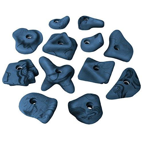 ALPIDEX 12 Kinder Henkel Klettergriffe Größe M bis L - ergonomisch geformt, gut zu greifen Dank Hinterschneidungen, Farbe:blau-meliert