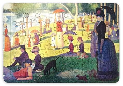 木製パズル ジグソーパズル パズル 木製パズル 8タイプ 35ピーズ 名画 絵画 風景 イラスト 静物 ゴッホ クリムト 脳トレ 木製 認知症予防 おもちゃ ひまわり 花 (【4】日曜日の午後)