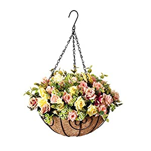 Homsunny Hanging Flowers Basket, Artificial Rose Flowers in 12 inch Coconut Lining Hanging Baskets for The Decoration of Courtyard, Outdoors, and Indoors (Mixed Color)