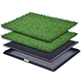 LOOBANI Dog Grass Pee Pads, Artificial Turf for Pet Training, Dog Potty Systems with 2 Packs Replacement Grass Mats - Indoor/Outdoor Use (Potty System with 2 Grass mats, 20' x 25')