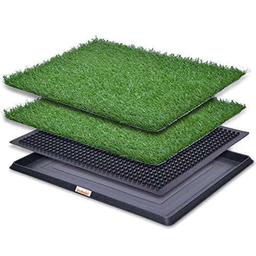 LOOBANI Indoor Outdoor Dog Potty Systems, Reusable and Portable Trainer Tray for Puppy Training, with 2 Packs Replacement Grass Mat. (20 x 25)