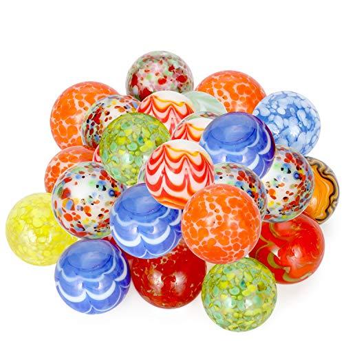 Ucradle Bunte Glasmurmeln, Murmeln Dekomurmeln für Kinder verwendet für Aquarium, Hauptdekoration, Marmorlauf (30PCS 14MM)