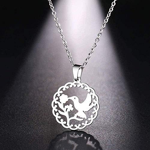 CCXXYANG Co.,ltd Collar Collar De Acero Inoxidable para Mujer Hombre Pájaro Flor Beso Color Dorado Y Plateado Collar con Colgante Joyería De Compromiso