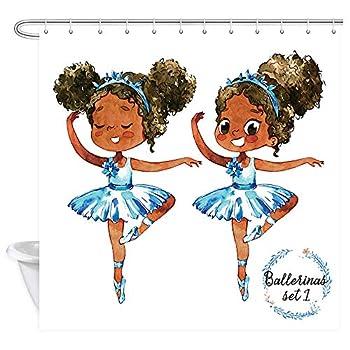 African American Black Girl Ballerina Princess Shower Curtain Afro American Teen Girl Gymnastic Ballet Dancer Bathroom Fabric Curtains Polyester Nursery Child Bath Curtain 69 X70  Hooks Included
