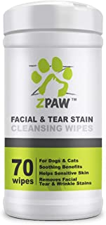 ZPAW Facial Wrinkle Eye and Tear Stain Wipes for Dogs and Cats   Extra Soft Wipes with Mild Fragrance-Free Formula That Removes Eye Discharge and Reduce Tear and Saliva Stains (70 Wipes)