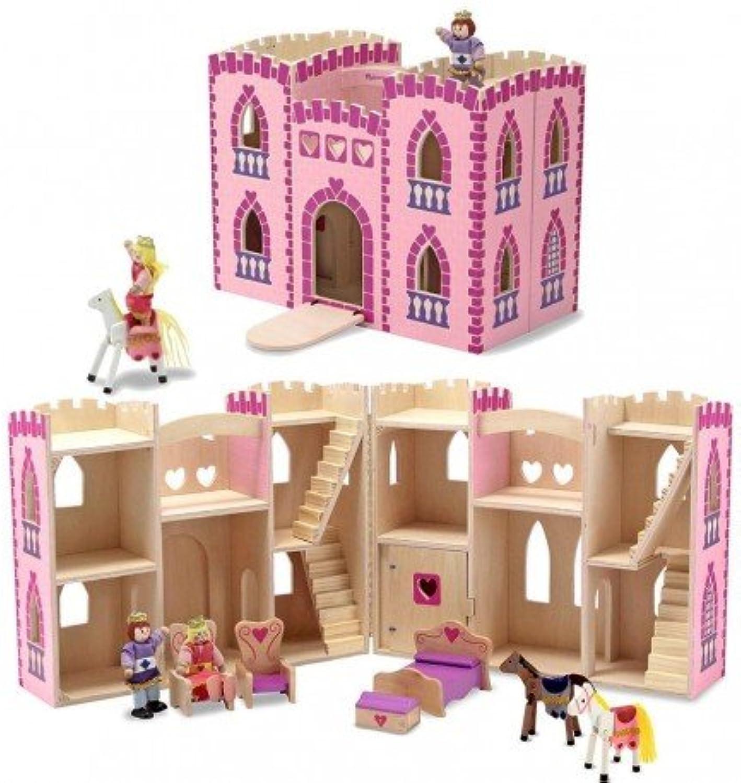 Chateau de Princesse en bois avec figurines et meubles 10 pcs Maison de poupées