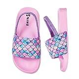 Zapatillas de Verano Zapatos de Playa y Piscina Niña Niño Chanclas Zapatillas de Ducha Antideslizantes(Escama de Pescado Rosa, 28/29EU)