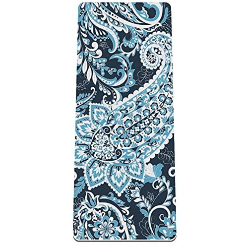 Esterilla de yoga antideslizante de 1/3 pulgadas de grosor con correa de transporte para todo tipo de ejercicios, yoga y pilates (72 pulgadas x 32 pulgadas x 8 mm de grosor) patrón de arte abstracto