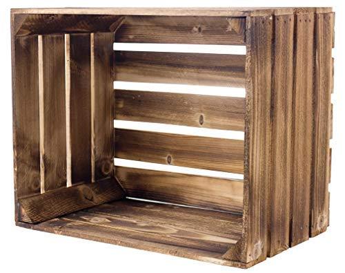 Kontorei® geflammte/braune Apfelkisten 50cm x 40cm x 30cm 1er Set Holzkisten Weinkisten Obstkiste Kiste Box