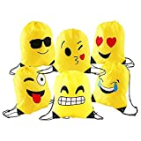 Comius Emoji Turnbeutel, 6 Pack Mitgebsel Kindergeburtstag Emoji Partyzubehör Turnbeutel für...