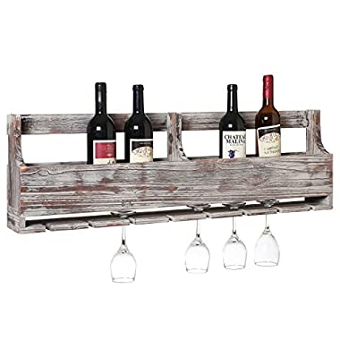 MyGift Distressed Gray Barnwood Wall-Mounted Stemware Glasses & Wine Bottle Display Rack