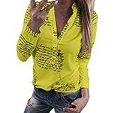 Sonnena Blusas Mujer Blanco Maduro Camisetas de Gasa Tops con Botón Mangas Largas Cuello en V Ropa de Oficina