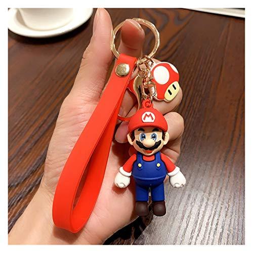 gxglhgsy Llavero Encantos Llavero de la Historieta 3D Super Mario Llavero del Coche de Moda Mario Luigi Bolsa Pendiente Suave de Goma Clave de PVC Cadenas Creatividad (Color : Mario)