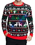 RAISEVERN Women Men's Light Up Ugly Christmas Sweater Black Knitted Pullover Funny Christmas Tree Angel Elf Reindeer Xmas Sweater Jumper for Holiday Party