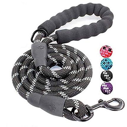 Litthing Correa para el Perro Nylon Ajustable Negro sólido Reflectante 150 cm para Perros Grandes o medianos Adecuado para Correr Senderismo Correr (Negro)