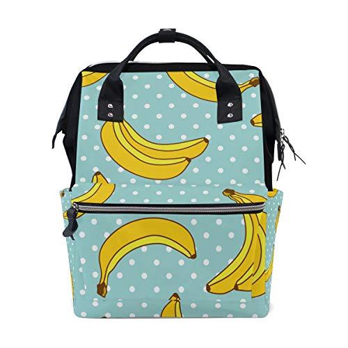 Alinlo Banana Motif sac à langer Diaper Sac à dos avec sangles de poussette multifonction Grande capacité momie Sac fourre-tout Sacs pour voyage Baby Care
