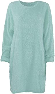 Fshinging Women Winter Sweater Knit Turtleneck Warm Blouses Long Sleeve Pocket Mini Sweater Dress