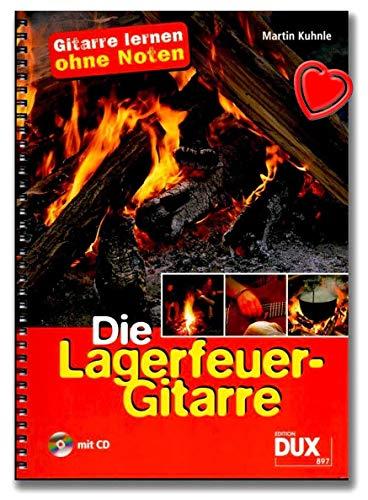 Die Lagerfeuer-Gitarre im Ringeinband (+CD) - Gitarre lernen ohne Noten mit 54 beliebten Songs (Ringeinband) von Martin Kuhnle - mit Notenklammer