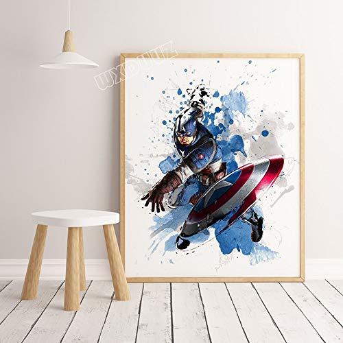 SDFSD Neue Aquarell Ameriacan Superhelden Film Cartoon Coole Poster Bilder für Kinderzimmer Home Decoration Leinwand Gemälde 50 * 70cm