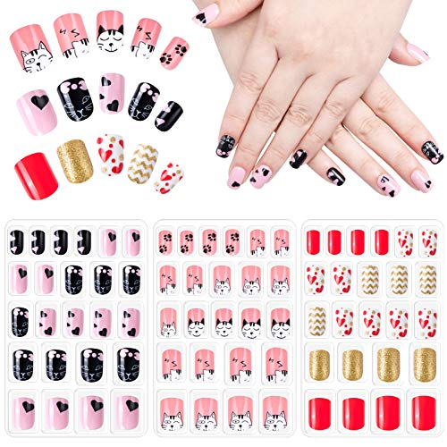 72 Stück Nägel Zum Aufkleben für Kinder, Selbstklebende Künstliche Fingernägel Set Falsche Kunstnägel für Mädchen Kleinen Händen Damen