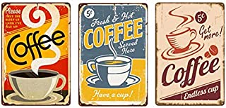 ie 3pcs Vintage Metal Iron Tin Sign Retro Coffe Frameless Tinplate Poster Painting Hanging Wall Art Decor For Restaurant C...