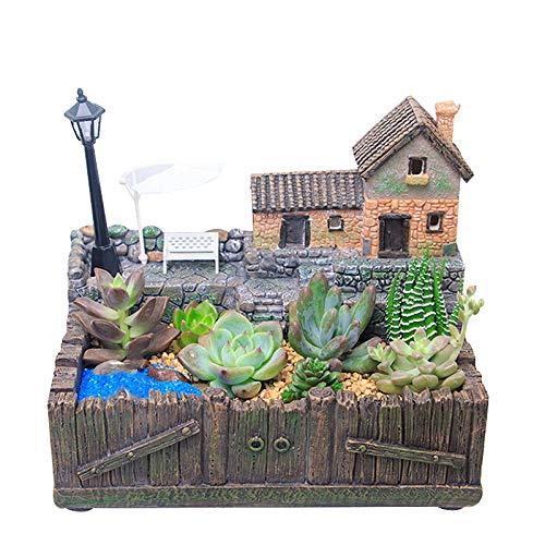 Succulent Planter Pot,Resin Bonsai Pot Flower Vase,Cactus Plant Pot,Micro Landscape DIY Container Pot,Fairy Garden Miniature Rural Cottage Sculpture Decorative Flower Pot with LED String